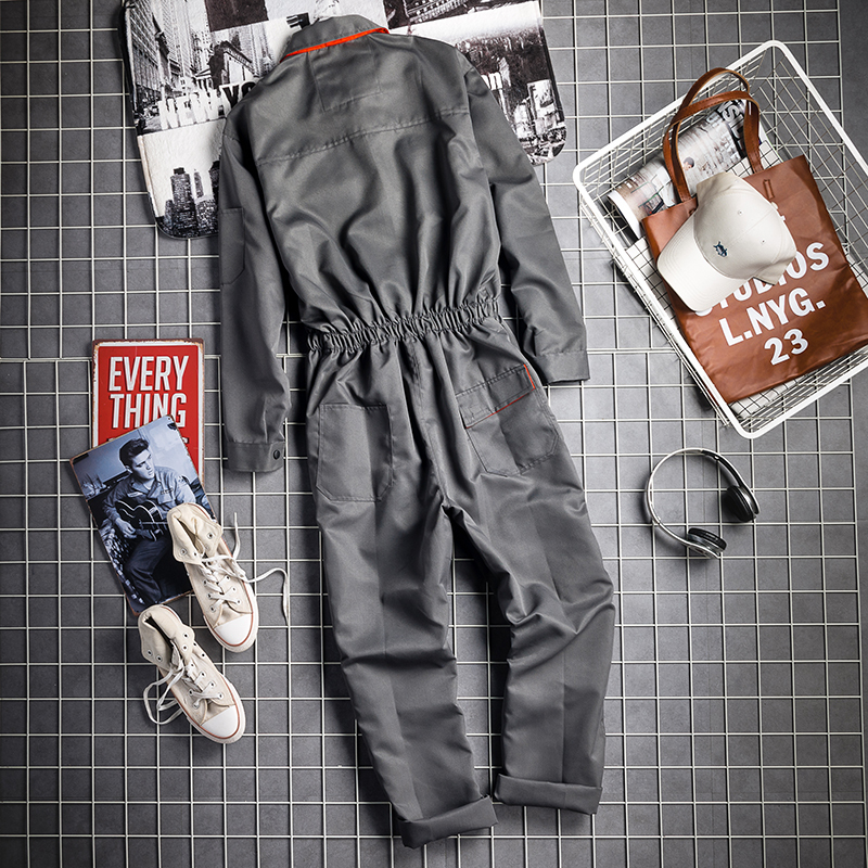 Vintage Harajuka Mens Long Sleeve Cargo Overalls Zipper Fly Pockets Rompers Mens Jumpsuit Fashion Loose Casual Plus Size S-4XL