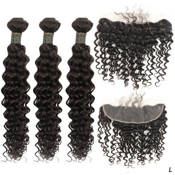 8-28'' Brazilian Remy Deep Curly human Hair Weave Bundles With 13X4 Frontal Lace Closure Extension With Baby Hair Zing Silky