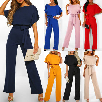 Hirigin 2020 Fashion Women O Neck Short Batwing Sleeve Belted Jumpsuit Summer Playsuit Office Work Wear Elegant Trousers 2