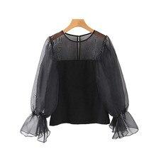 2019 New Tops Women Sexy Shirt Sweet Black Transparent Top O Neck Long Sleeve Stylish Basic Solid Female