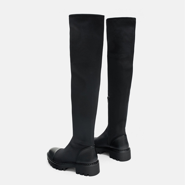 Same DesignWomen's over-the-knee Boots Elastic Slim Boots 2020 Winter  New Round  Toe Zipper High Boots 4