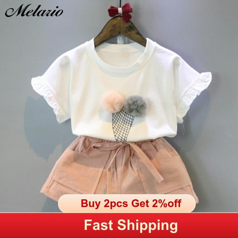 Melario 綿の女の子の服セット夏のベストツーピースノースリーブ子供は、ファッション服スーツカジュアルドット服