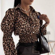 Elegant Fashion Long Lantern Sleeve Oversized Blouses Leopard Vneck Slim Casual Harajuku Chiffon Sexy Shirt Stawberry
