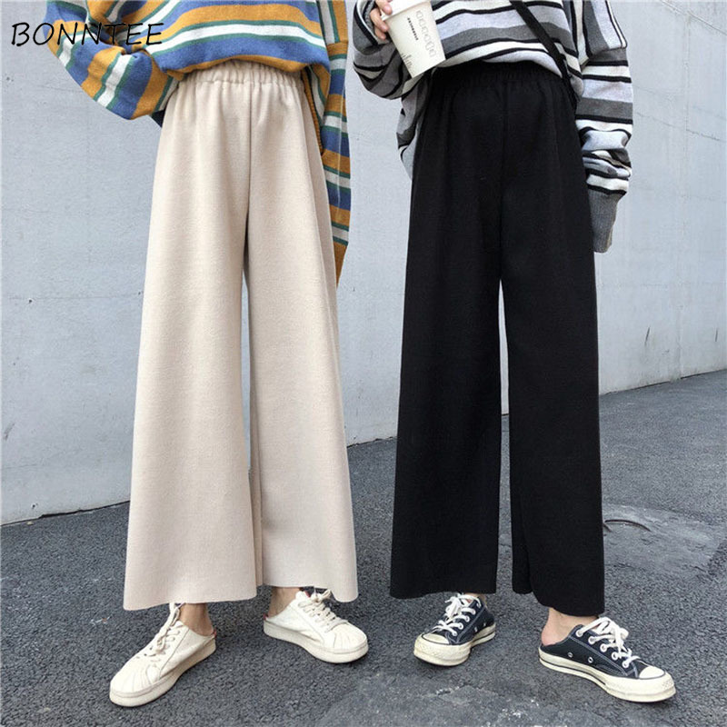 Pants Women Woolen Blends Solid Wide Leg High Waist Elegant Trendy Leisure Ladies Thick All-match Womens Trousers Korean Style