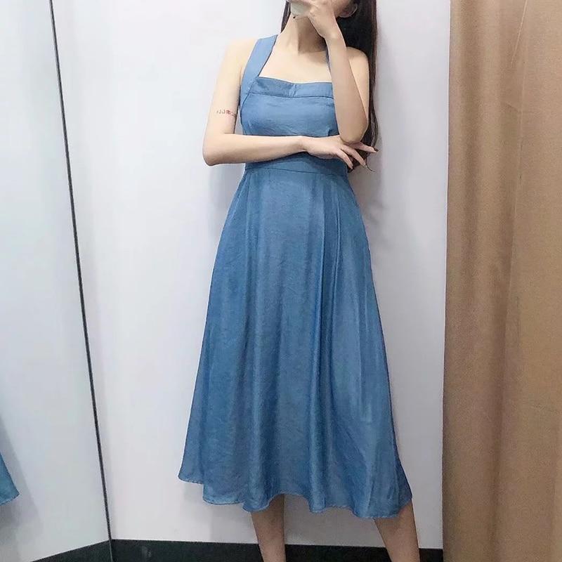 Sexy loisirs bleu croix Spaghetti sangle longues robes pour les femmes 2019 pur coton charme bouton taille haute mignon robe Date présent