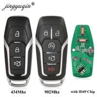 Jingyuqin 434Mhz/ 868Mhz/ 902Mhz ID49 포드 Mondeo 2.0T Kuga Mustang 2015- Edge Taurus Car Keyless Go 3BTN/5B 용 전체 스마트 원격 키