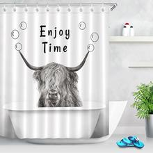 Animal Highland Cattle Cow Shower Curtain Bathtub Waterproof Polyester Fabric Bathroom Decor Printed Shower Curtain with Hooks peacock feather fabric shower curtain with hooks