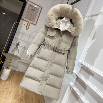 Real Fox Fur Collar Long Duck Down Coat Women Fluffy Jacket Women 2020 Winter New Korean Plus Size Kawaii Festival Hat Outerwear image