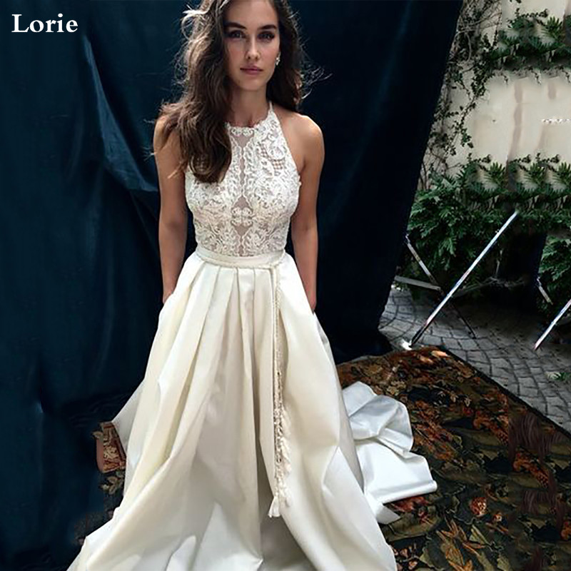 Lorie A-Line Wedding Dresses Halter Neck Boho Bridal Gowns 2020 Vestidos Wedding Gowns Custom Made