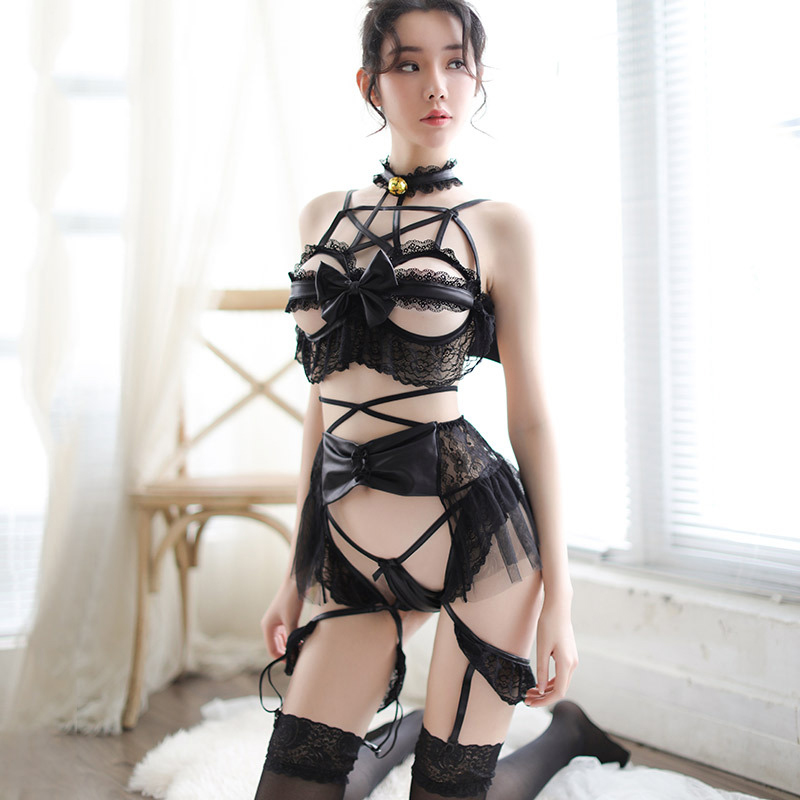 HOT! Womens Devil <font><b>Cosplay</b></font> Costumes <font><b>Lolita</b></font> Cute Cat Lingerie Anime Underwear <font><b>Sexy</b></font> Bandage Outfit Japanese Lingerie Nightgown image