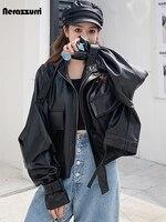 Nerazzurri Autumn Short Black Oversized Soft Light Faux Leather Jackets for Women Long Sleeve Casual Loose Korean Fashion 2021