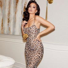 цена на Dresses Women Leopard Print Sexy Bodycon Fashion платье Sleeveless Skinny Clubwear Basic Hot Midi Party Dress платье женское
