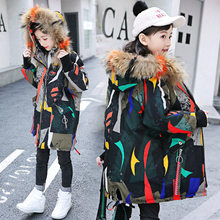 Girls Winter Coat Fashion Children Parkas Winter Printed Jackets 2019 Fur Hooded Kids Snowsuits Long Thick Warm Down Outerwear baby girls denim jackets coat fur hooded parkas plus thick winter warm children outerwear long clothes kids clothing q2069