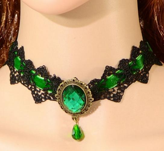 Europe And America Punk Gothic Water Droplet Gemstone False Collar Necklace Lace Necklace AliExpress Hot Selling Cmn115