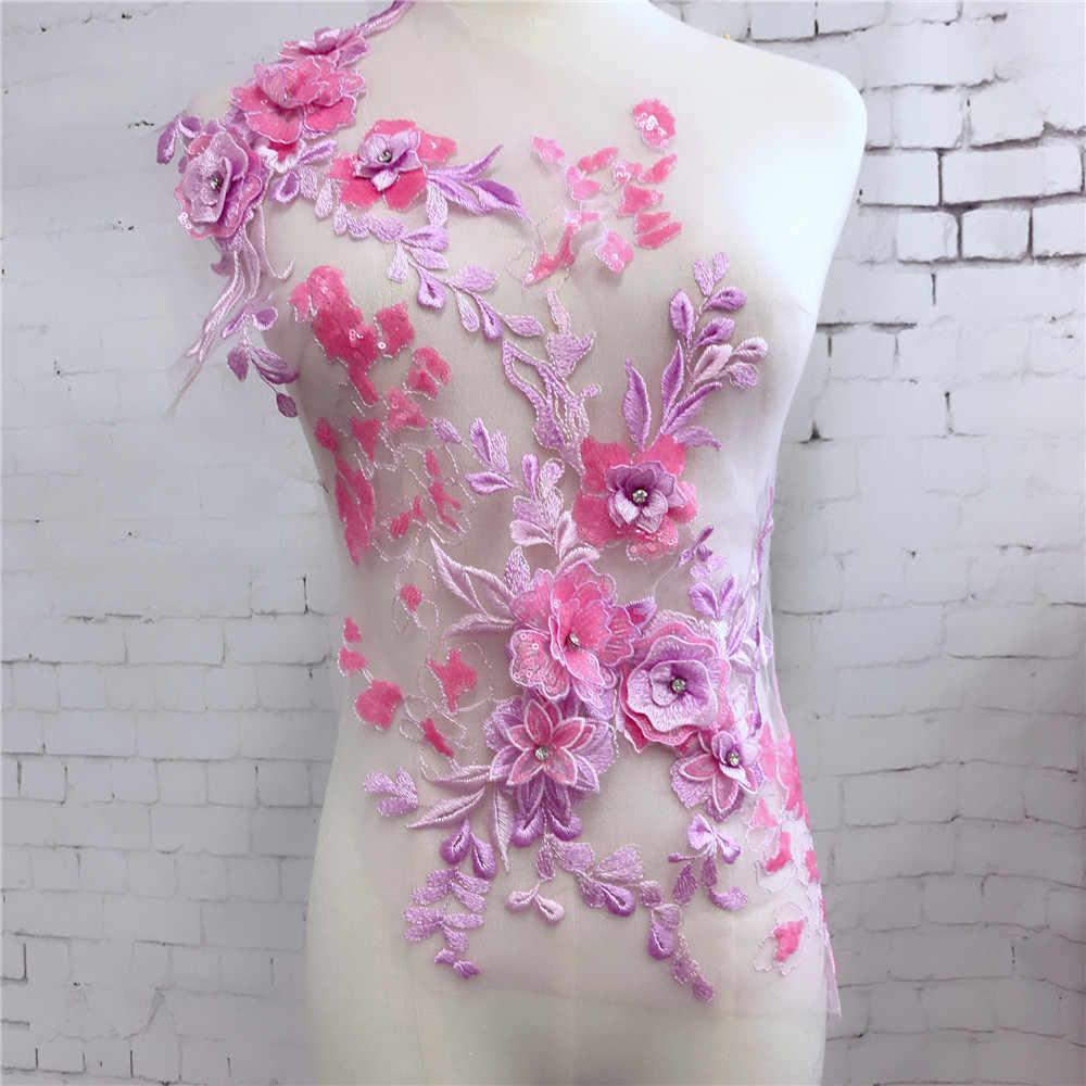 1 pçs grande pesadamente lantejoulas frisado renda applique esmeralda verde/pêssego rosa/ouro 3d bordado floral renda para recepção vestido