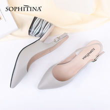 SOPHITINA Sexy Pointed Toe Sandals High Quality Sheepskin Fashion Buckle Comfortable Square