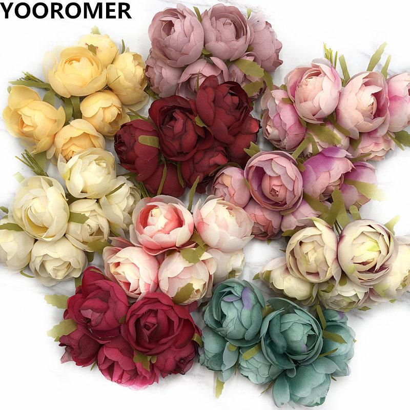 YOOROMER 6pcs silk rose artificial flower bouquet bouquet DIY handmade garland clip art wedding decoration craft fake flower
