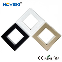 NOVSKI 2019 New Arrival: Wall Socket Panel Crystal Tempered Glass Faceplate of Electrical 86*86mm Russian UK/EU/US