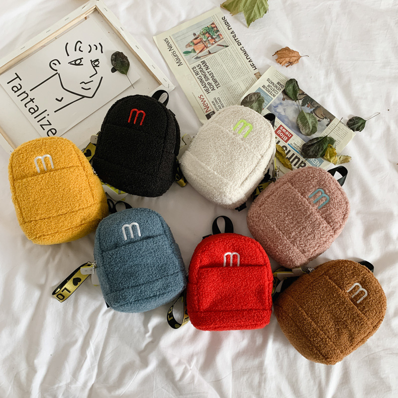 Autumn And Winter New Style Small Bookbag Women's Korean-style Fashion Plush Children Backpack Cute Lambs Wool CHILDREN'S Baby B