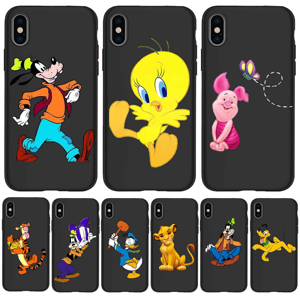 Mickey Tigger Spider-Man untuk iPhone 11 Pro Cover XR X Max X 6 6S PLUS 5 5S SE TPU untuk iPhone 7 Plus Phone Case Hitam