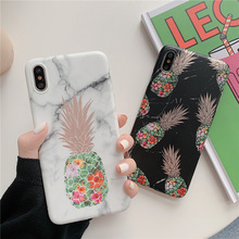 Gold pineapple Slim thin Mobile phone Marble cover fundas For Apple iPhone XR XS MAX 8 7 plus 6 6s X marble cases