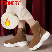 EGONERY winter neue warme echt wolle schnee stiefel außerhalb high heels plattform kuh wildleder runde kappe zipper frauen schuhe drop verschiffen(China)