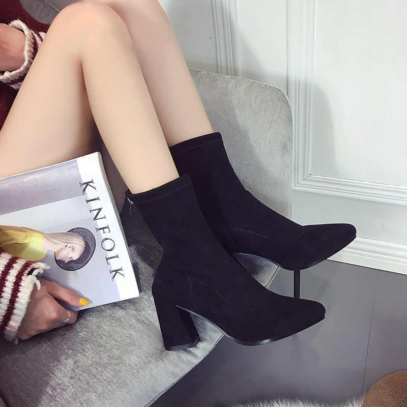 2020 ฤดูใบไม้ร่วงฤดูใบไม้ร่วงฤดูหนาวรองเท้าผู้หญิง Suede ปั๊มสุภาพสตรีสุภาพสตรี Elegant ชี้ Toe Botas Lace Up ส้นคลาสสิกรองเท้า