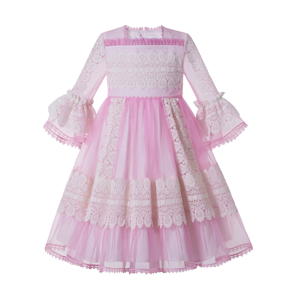 Pettigirl Pink Square Collar Flare Sleeves Lace Girl Party Birthday Boutique Kids Wear G-DMGD209-266(Dress Length Under Knee)