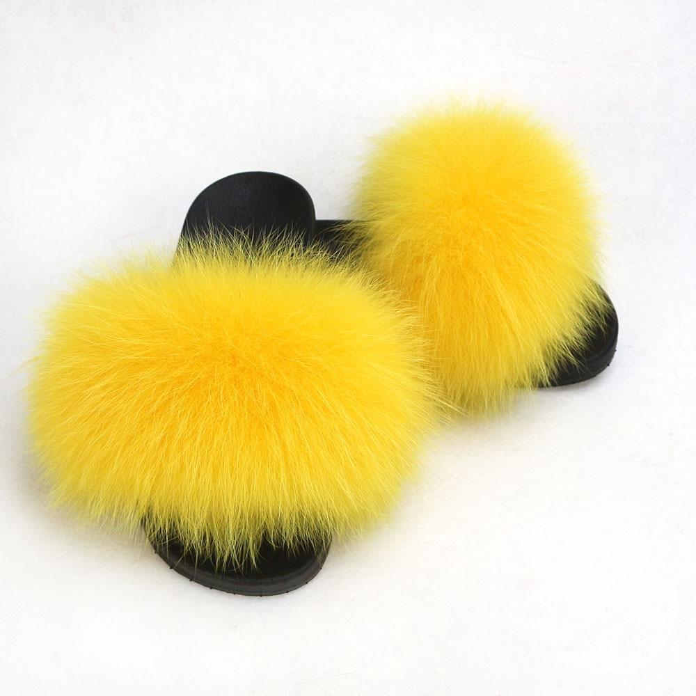 Children Furry Slippers Real Fox Fur Sandals Soft Outside&indoor Slides Flat Kids Solid Fur Slides