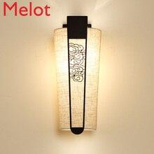 New Chinese Style Wall Lamp Corridor Light Bedroom Bedside Lamp Creative Aisle Modern Fabric TV Wall Living Room Lighting Art