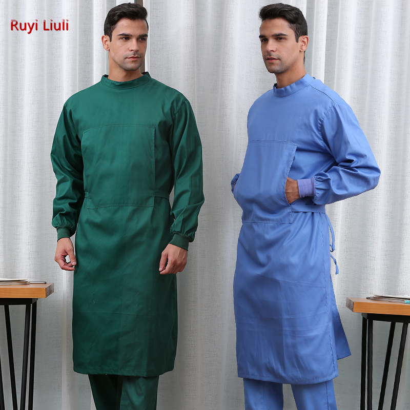 Long Surgical Surgeon Gown Medical Clothing Reinforced Protective Gown With Sterile Wraparound Reusable Wrap Around Gowns