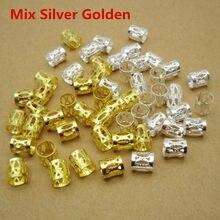 100 pçs/lote dourado/prata ajustável micro viking, tranças de cabelo dreadlock, barba, babados, anéis para o cabelo, acessórios