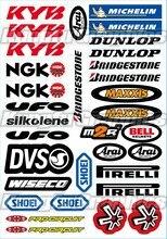 KYB – feuille d'autocollants pour Logo de course, autocollant universel (7.2x10.2 pouces), blanc