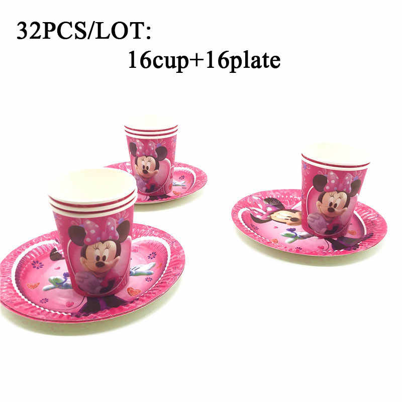 Minnie Mouse Party Decorations Minnie Mouse Theme Plates Dishes Cups Minnie Mouse Theme Disposable Tableware Sets Party Supplies