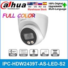 Dahua IPC-HDW2439T-AS-LED-S2 4mp câmera ip de cor cheia h.265 + ivs detecção inteligente embutido mic ip67 câmera dome