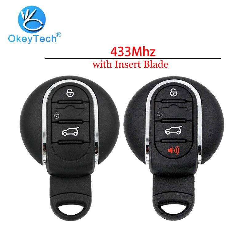 OkeyTech pour BMW Mini Cooper 2007 2008 2009-2014 4 boutons clé à distance voiture carte à puce entrée sans clé 433Mhz avec lame vierge d'insertion