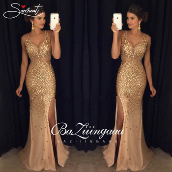 SALE New Elegant Woman Evening Gown Double V-neck gold glitter sexy elegant evening dress Suitable for Formal Parties