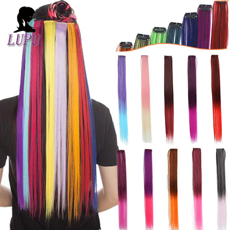LUPU Colorful Hair Extension Single Clip In One Piece Rainbow Colors Synthetic Long Straight Ombre Pink Red Hairpieces For Women