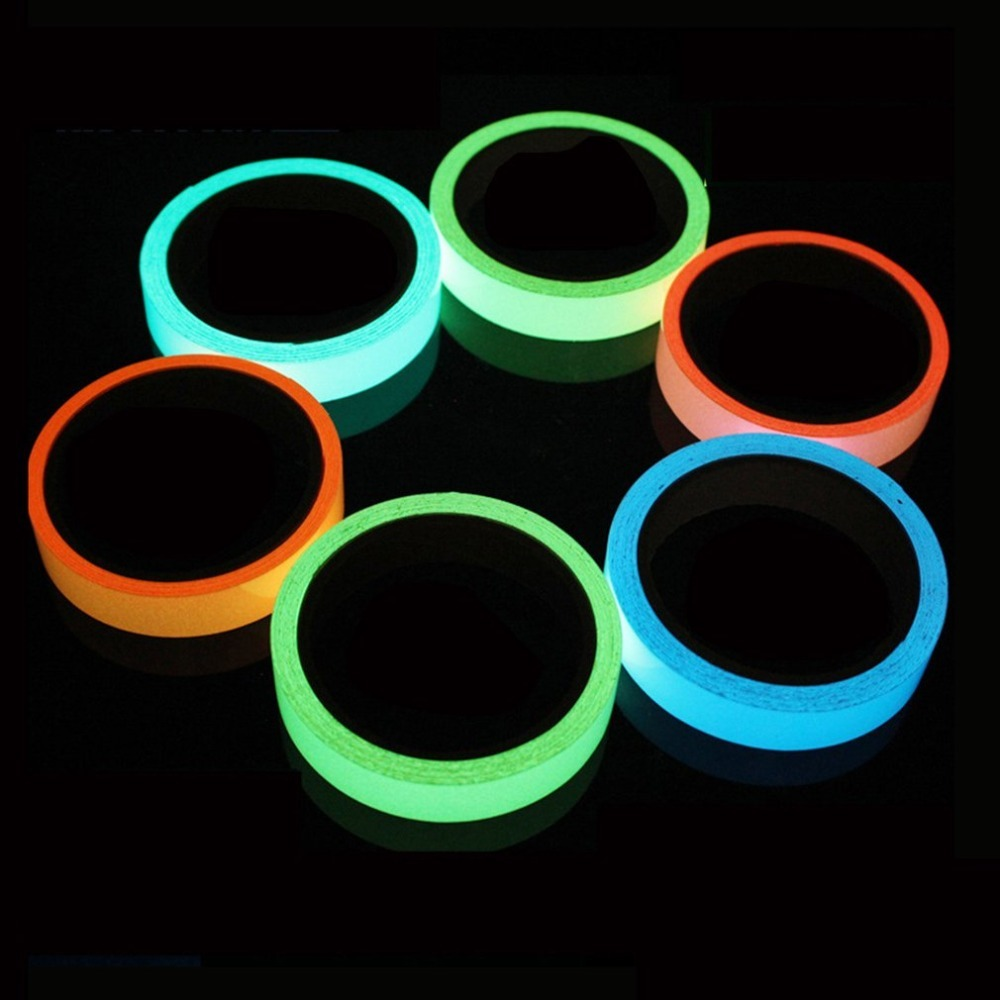 1PC Reflective Glow Tape Self-adhesive Sticker Removable Luminous Tape Fluorescent Glowing Dark Striking Warning Tape