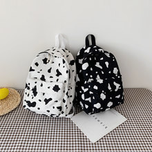 Cow Milk Print Canvas Backpack Women Students Casual Shoulder School Bag(China)