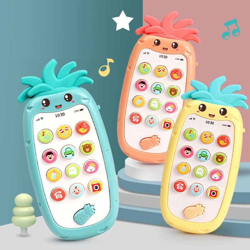 Simulation Phone Model Cartoon Kids Baby Learning Educational Music Toys Gifts Pineapple Shape Educational Toys Gifts
