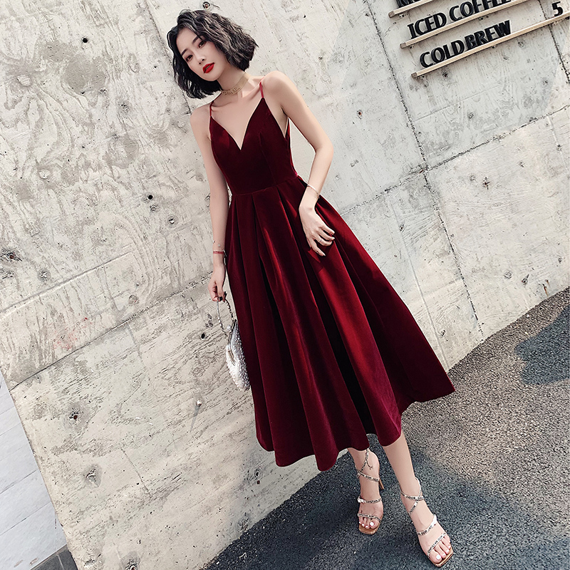Ladybeauty  Short Evening Dress 2020 A Line Velvet Girls Party Dress Vintage Prom Gowns