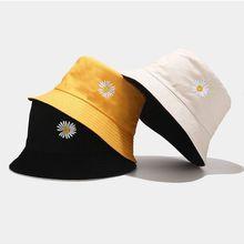 Bucket-Hat Fisherman-Hat Sunscreen-Daisy Embroidery Outdoor-Cap Harajuku Double-Side