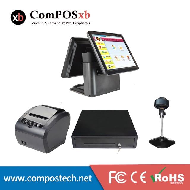 Windws – Pc de Point de vente avec double écran 15 + 15 pouces, système d'ios, Terminal de Point de vente Windows, écran tactile, tout-en-un, pour Restaurant 1