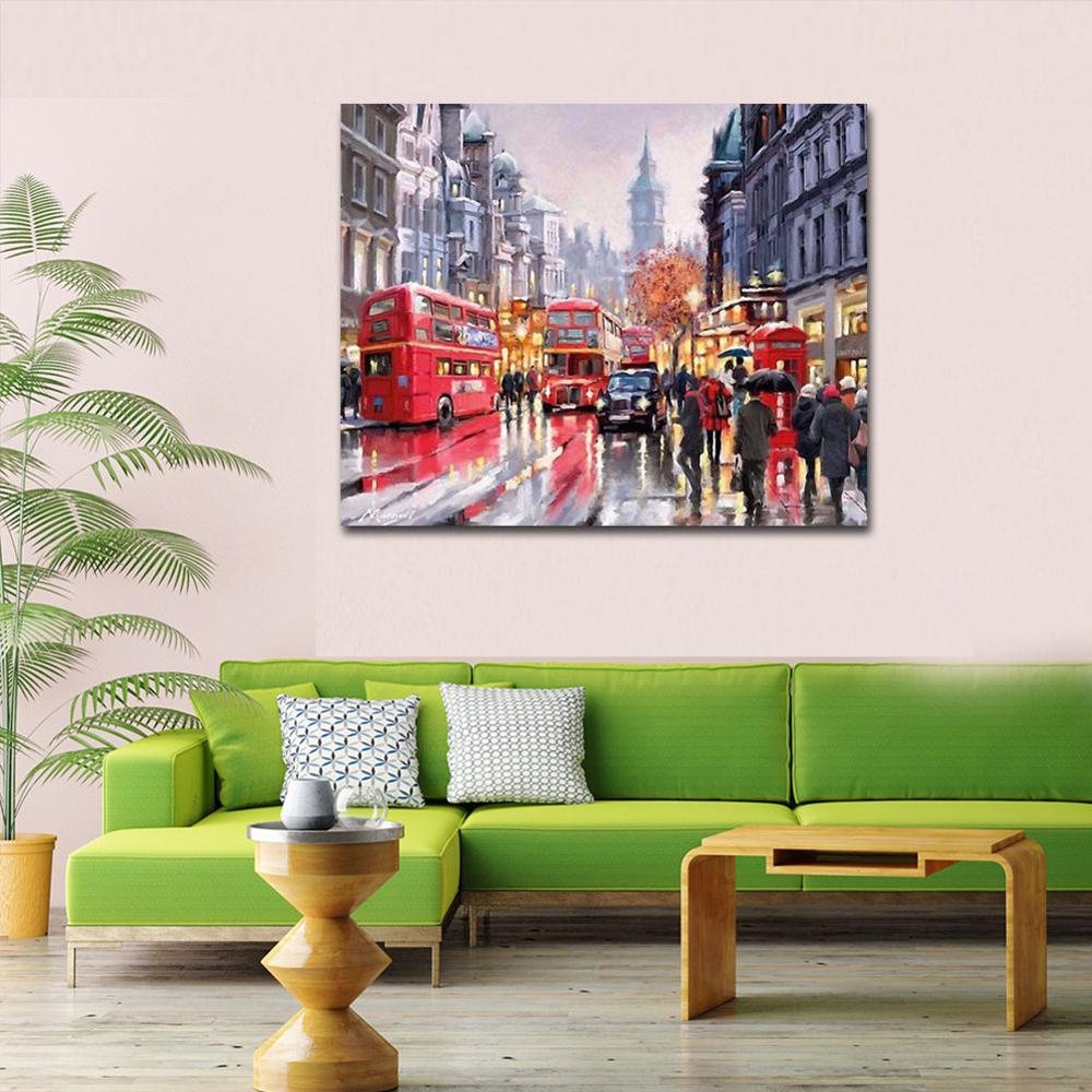 WEEN Street Red Bus DIY Painting By Numbers kit Acrylic Paint Hand Painted Oil Painting On Canvas Paint By Numbers 40x50cm in Painting Calligraphy from Home Garden