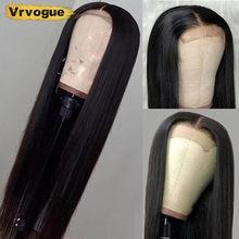 Vrvogue – perruque Lace Wig brésilienne Remy naturelle, cheveux lisses, 4x4, pre-plucked, 150%, pour femmes africaines