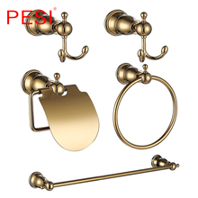 цена Bathroom Accessories Hardware Set Robe Coat Hook Towel Rail Rack Bar Shelf Toilet Paper Tissue Holder Toothbrush Holder,Gold. онлайн в 2017 году