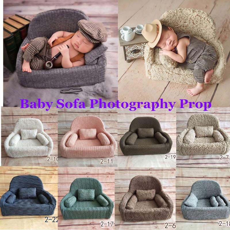 Adereços de fotografia para recém-nascidos, 4 pçs/set, bebê possuir almofada, cadeira, decoração, acessórios para foto, tiro