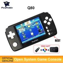 """Powkiddy q80 Retro gra wideo konsola słuchawki 3.5 """"ekran IPS wbudowany 4000 gry otwarty System PS1 Simulator 48G pamięć nowe gry"""