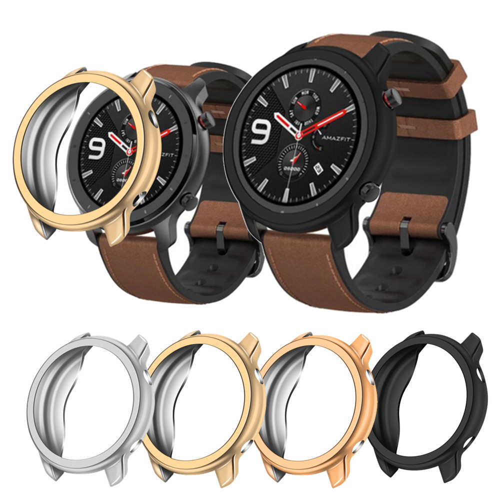 Protective Case Cover For Xiaomi Amazfit Gtr 47mm TPU Protector Frame For Huami Gtr Watch Protect Shell Accessories Strap Band
